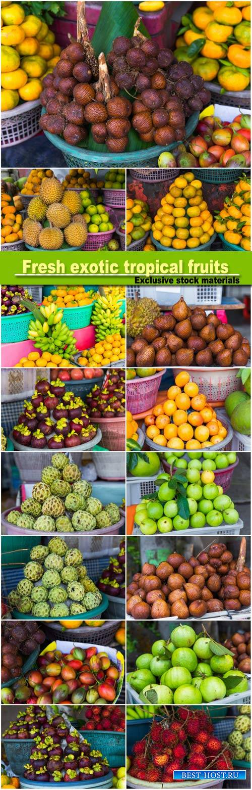 Fresh exotic tropical fruits for sale at an outdoor market, durians, mandar ...