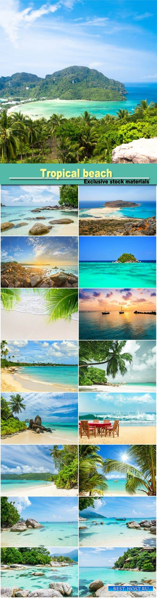 Tropical beach, crystal sea white sand beach at  island, Maldives, tropical ...