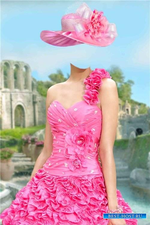 Шаблон для фотошопа женский – Розовое платье с цветами