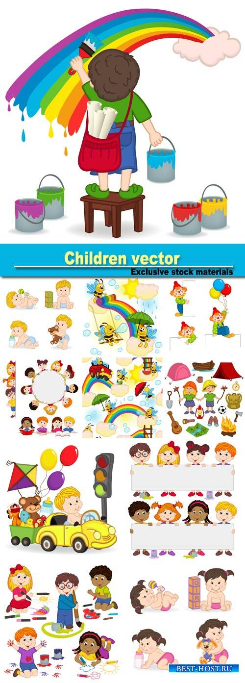 Children vector, funny little kids