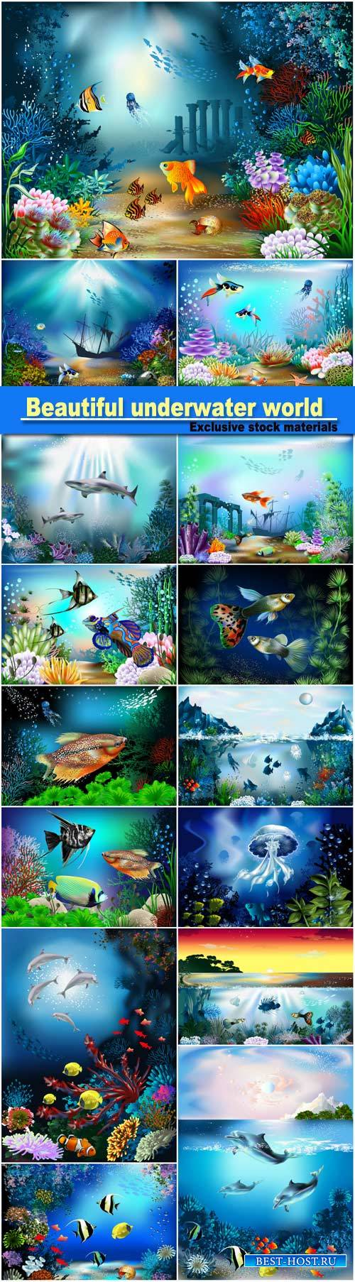 Beautiful underwater world, fish and marine life vector