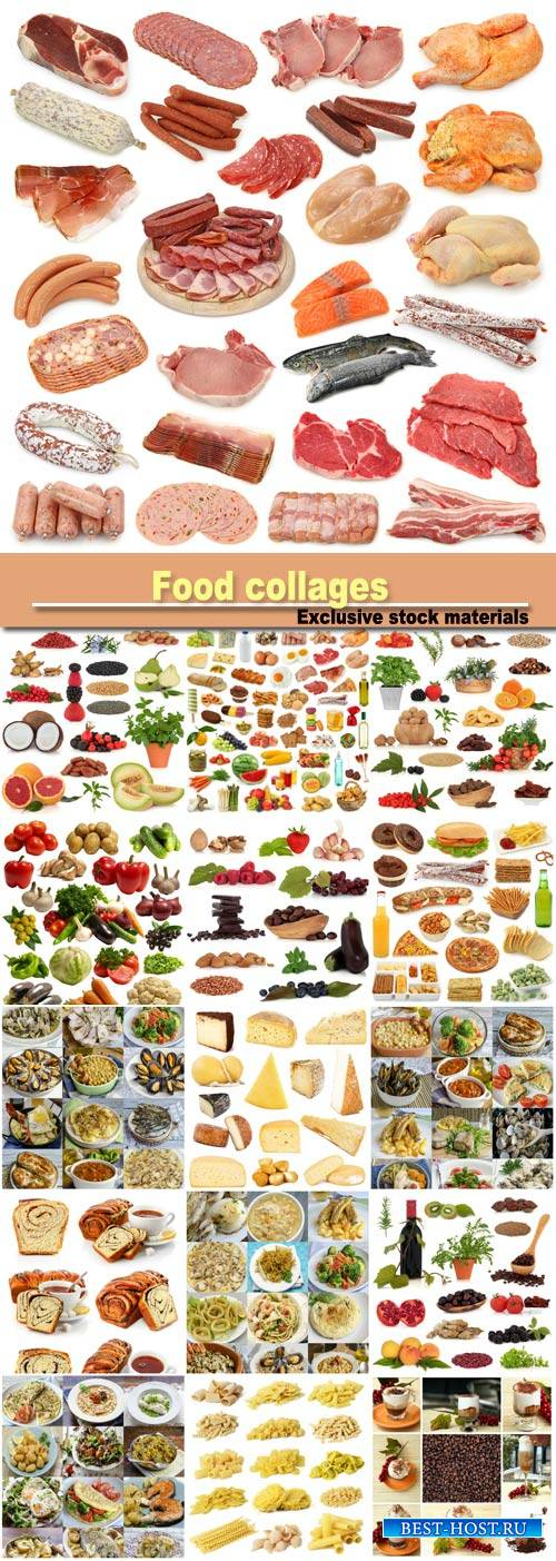 Food collages: meat, vegetables, seafood, dairy products