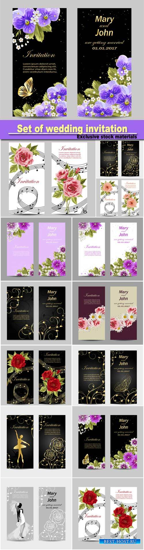 Set of wedding invitation cards design, beautiful flowers, vector illustrat ...