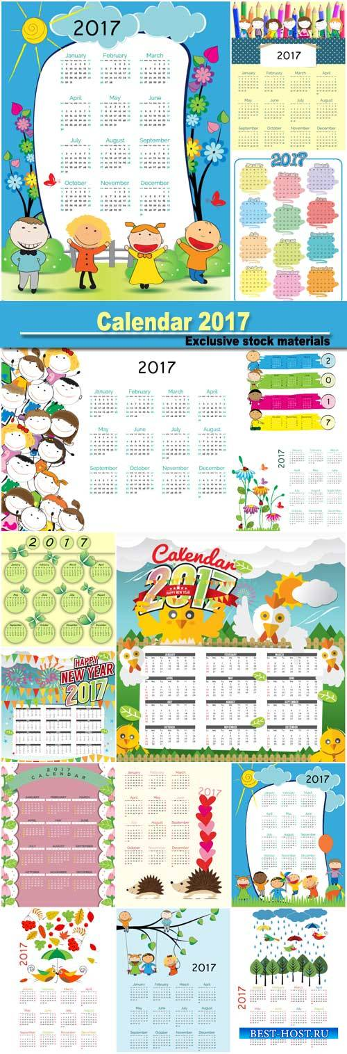 Calendar 2017, vector illustrations of children's