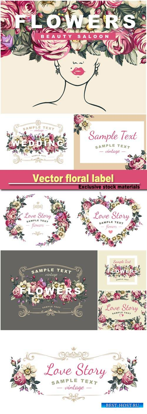 Vector floral label with a composed of detailed flowers illustrations