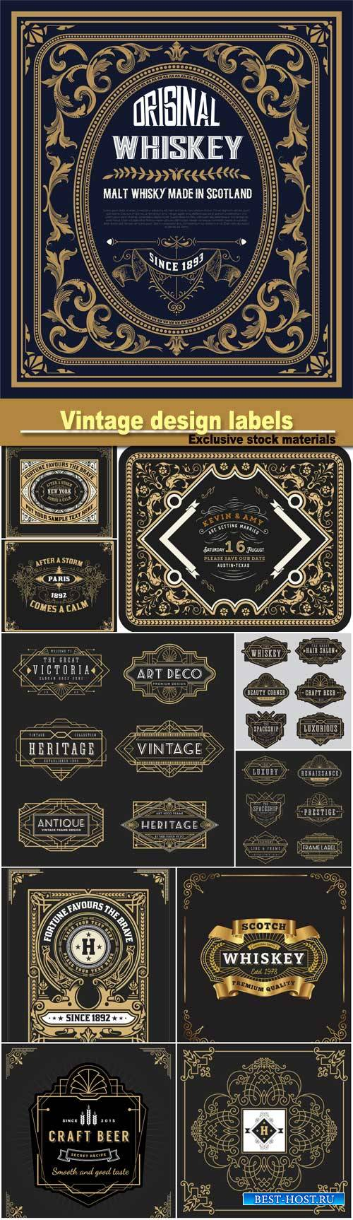 Vintage line design for labels, banner, logo, emblem, wedding card