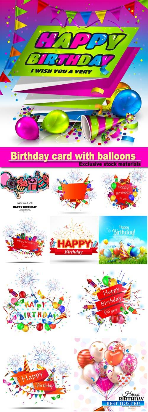 Birthday card with colorful balloons, confetti, stars, ribbon and bow on do ...