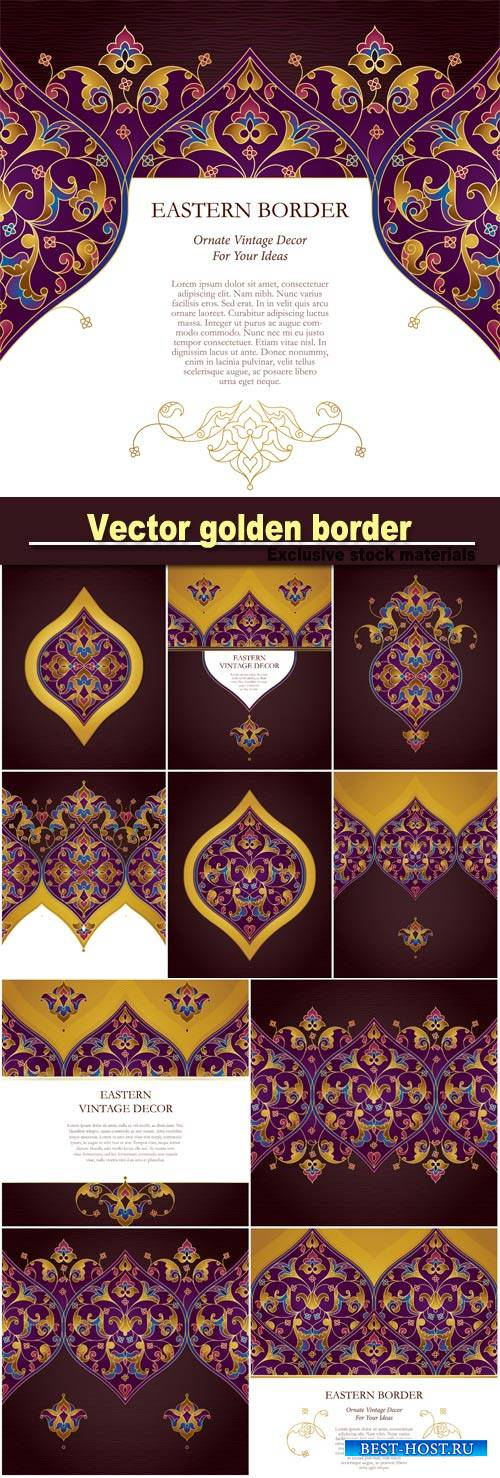 Vector golden border in eastern style