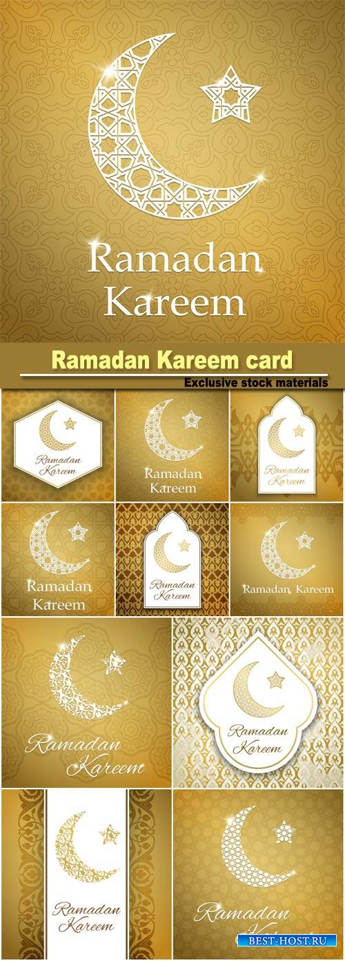 Ramadan Kareem greeting card with half moon and star