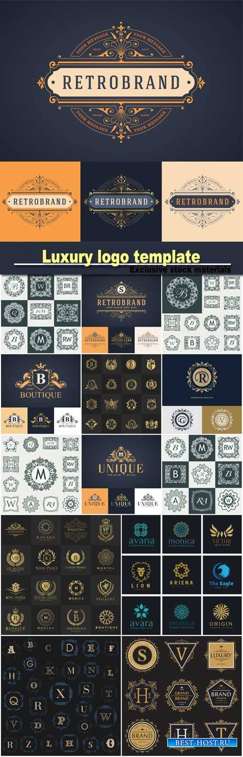 Vector illustration of luxury logo template, calligraphic elegant ornament, ...