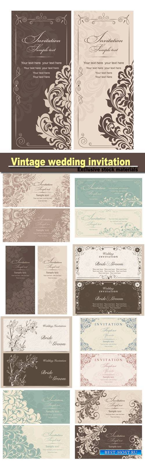 Vintage wedding invitation with floral design, vector illustration