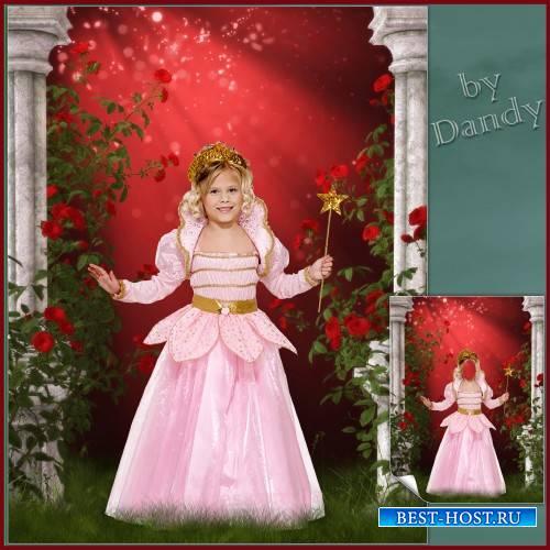 Шаблон для девочки - Маленькая фея среди роз