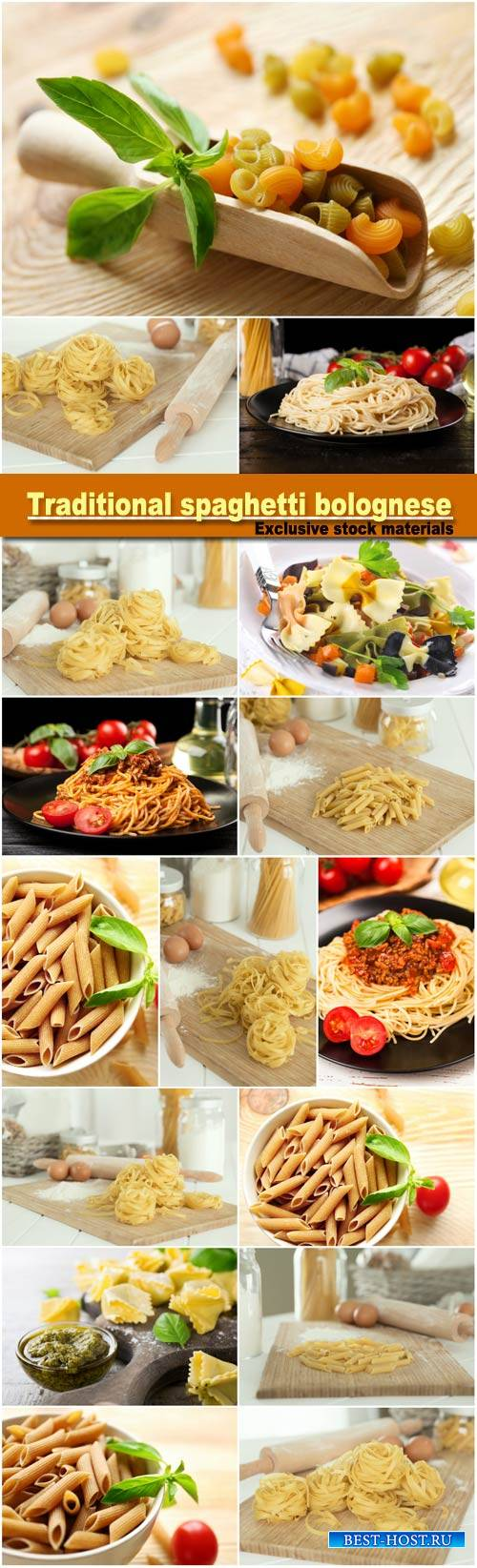 Traditional spaghetti bolognese, penne pasta in white bowl