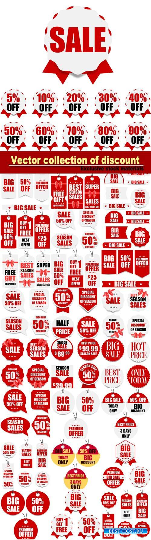 Vector collection of discount, banners and stickers