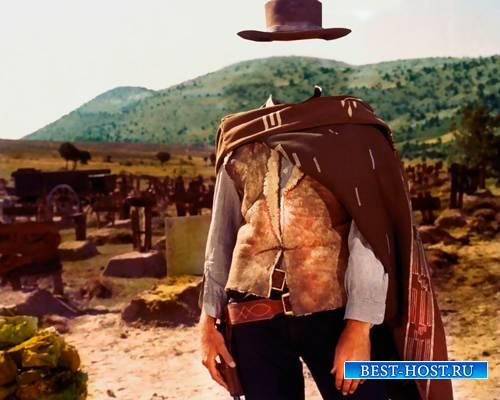 Мужской шаблон - Ковбой с двумя стволами и в шляпе
