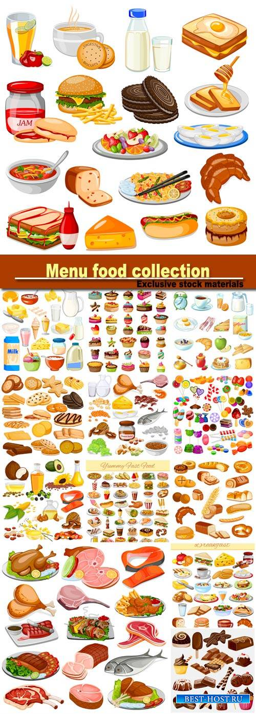 Breakfast menu food collection, candy, dairy product, meat product