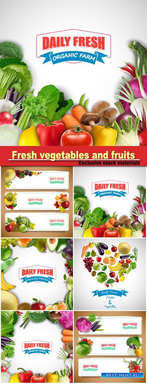 Fresh vegetables and fruits, backgrounds and banners vector