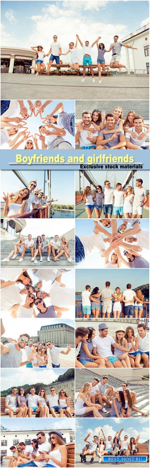 Group of diverse successful young  boyfriends and girlfriends having fun at ...