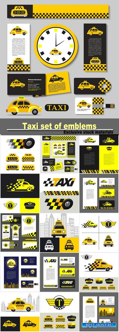 Taxi set of emblems, elements of corporate style, business card, flyer, ban ...