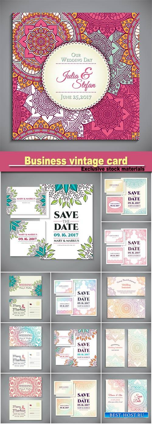 Business card, vintage decorative elements, hand drawn background
