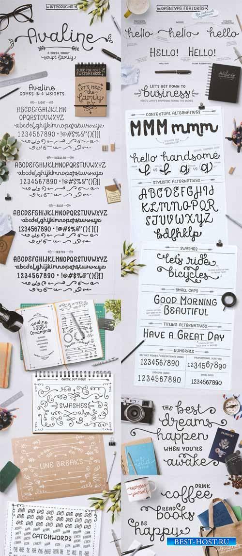 Рукописные шрифты орнаменты - Avaline  Ornaments