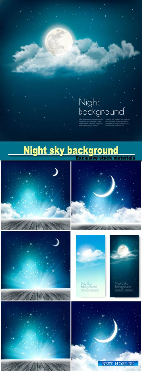 Night sky background with with crescent moon, clouds and stars