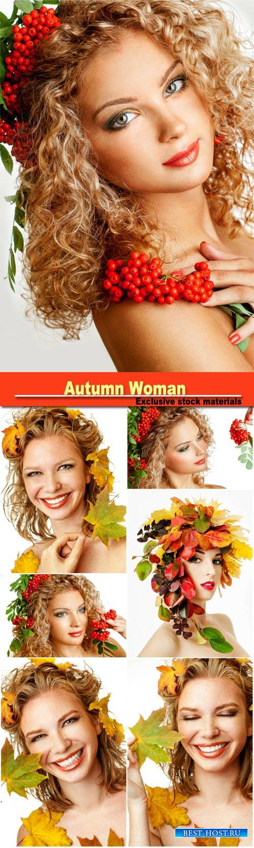 Autumn woman fashion portrait, beautiful model girl with  rowan berries