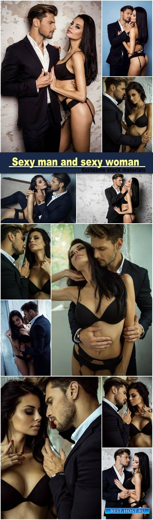Portrait of sexy man in black suit touching sexy woman in lingerie