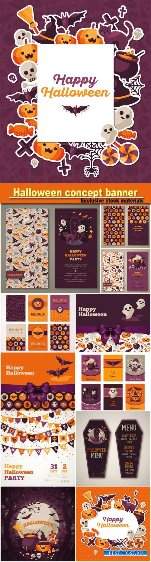 Halloween concept banner with flat Icons stickers