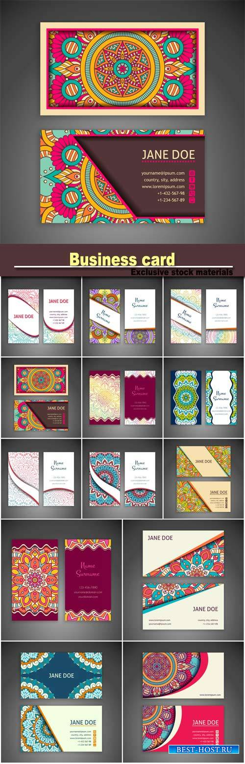 Business card and vintage decorative elements, hand drawn background