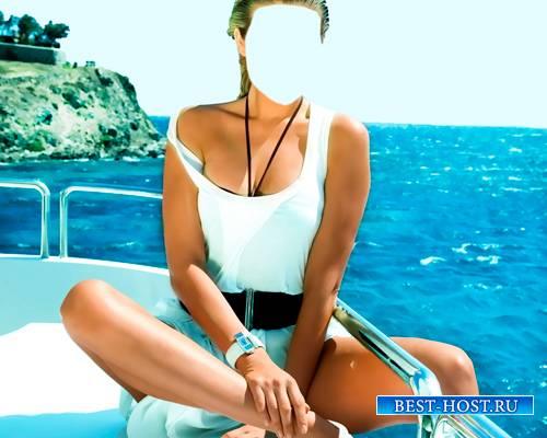 Шаблон женский - Сидя на корме яхты