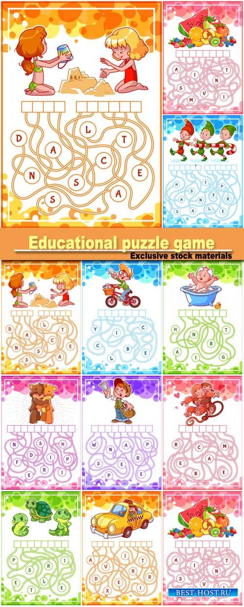 Educational puzzle game with kids and animals