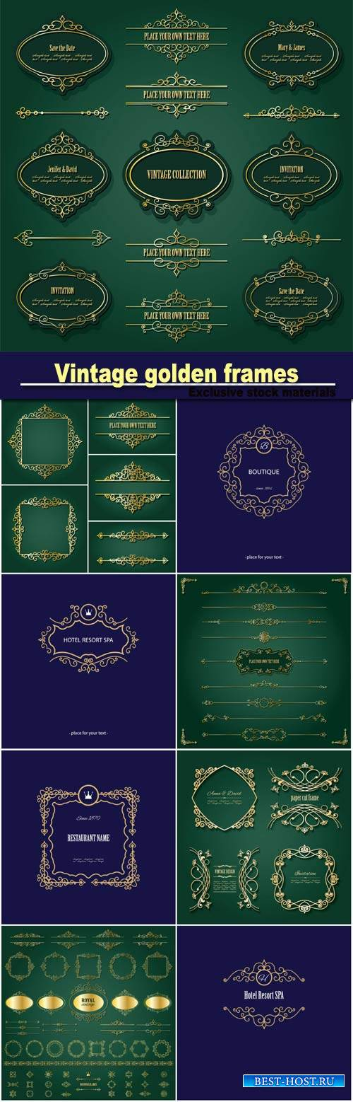 Vintage golden, labels and dividers set, luxury design