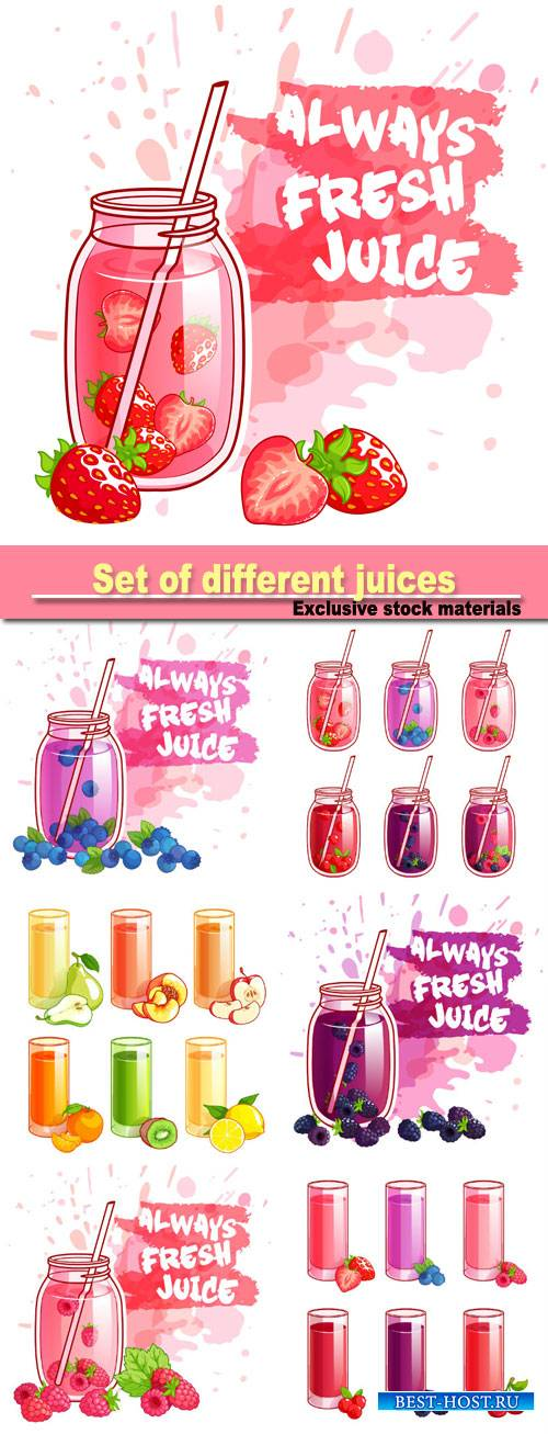 Set of different juices with berries