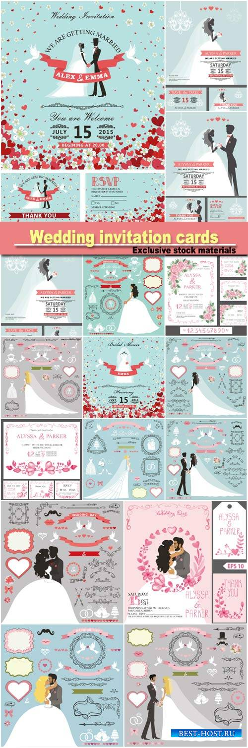 Wedding invitation cards set, groom and bride