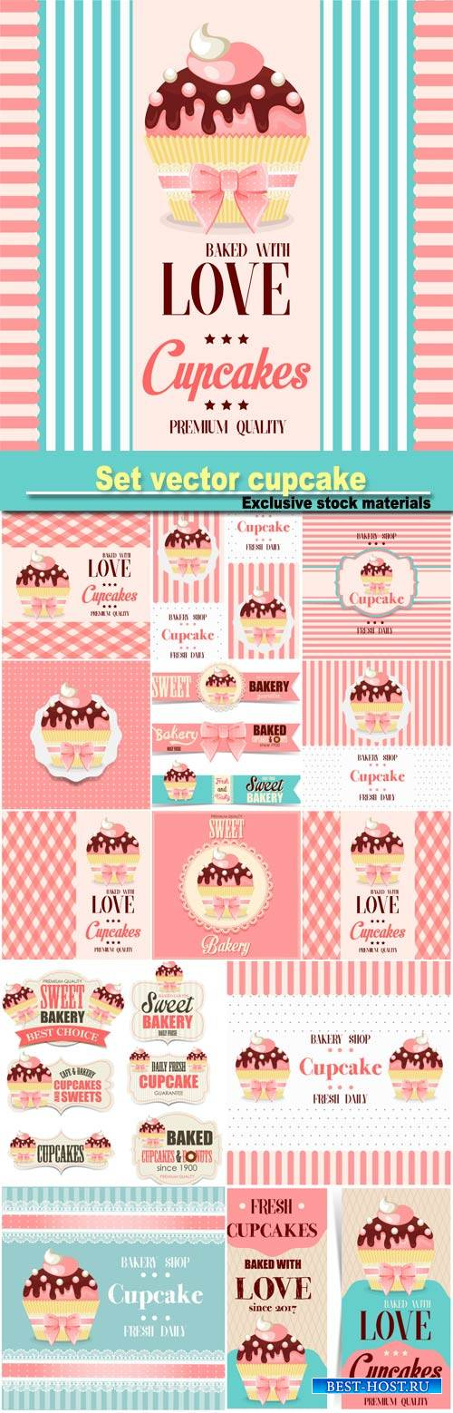 Set vector cupcake, backgrounds and stickers