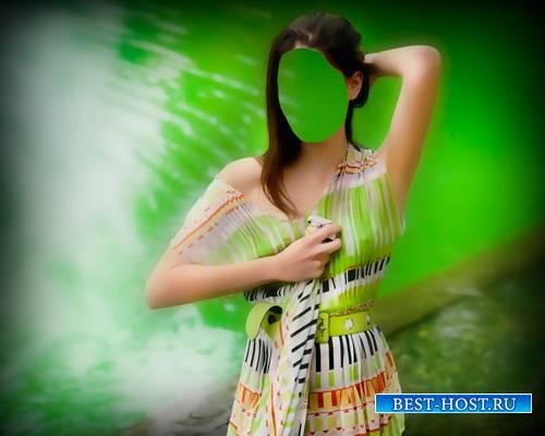 Шаблон для фото - Красавица девушка на красивом фоне