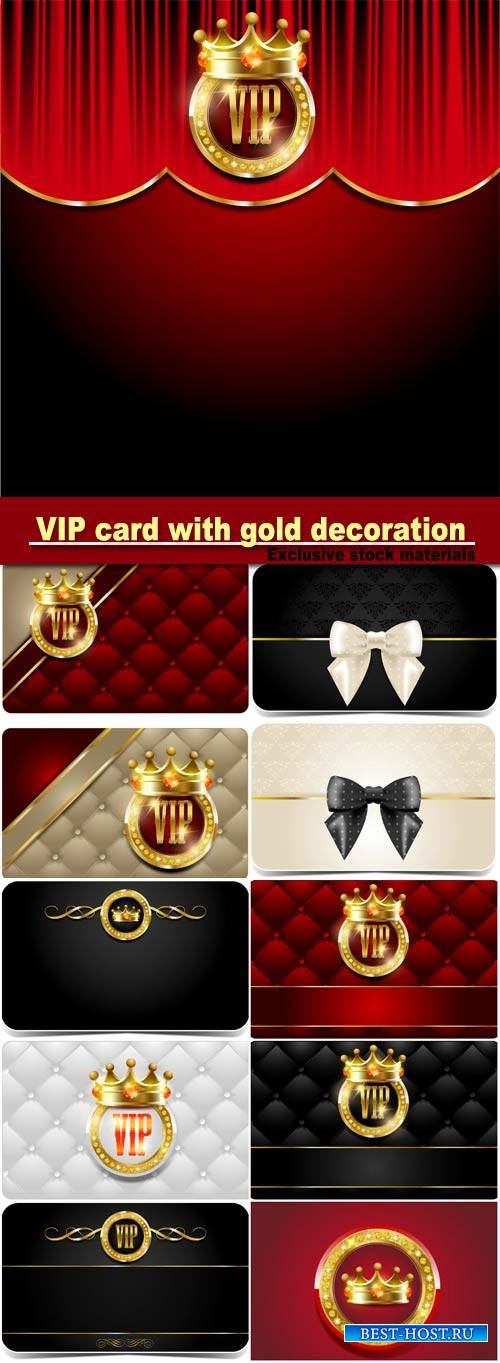 VIP card with gold decoration and gold crowns