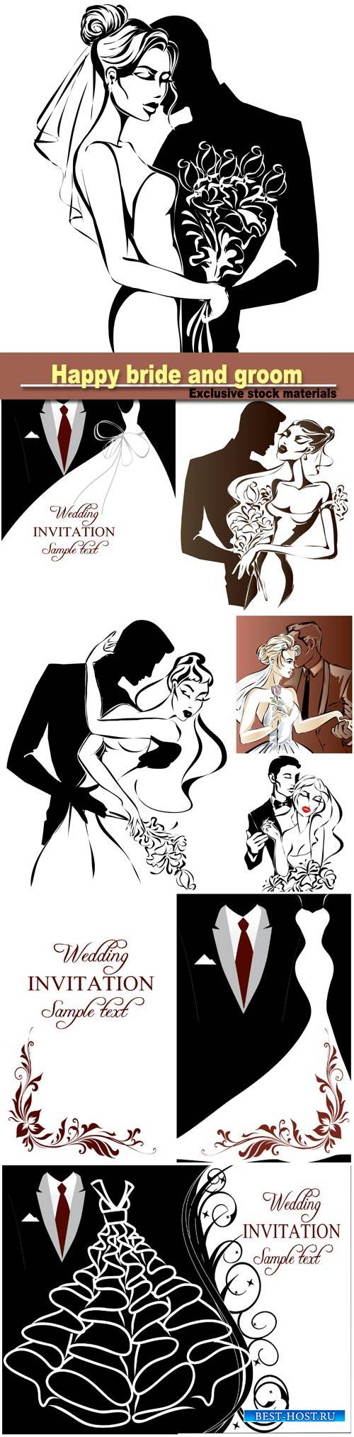 Wedding couple, happy bride and groom, monochrome silhouette, vector illust ...