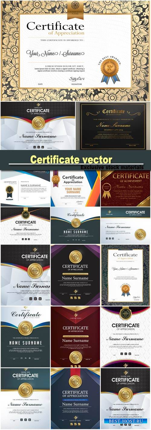 Certificate vector luxury template