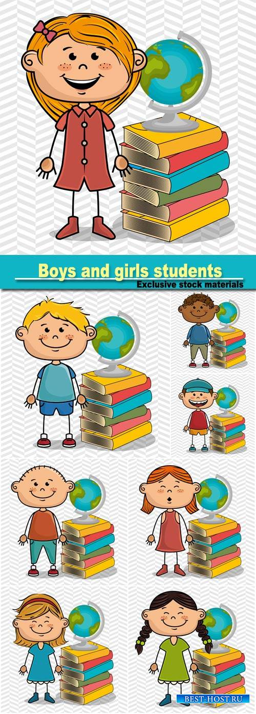 Boys and girls students with books and globe, vector illustration