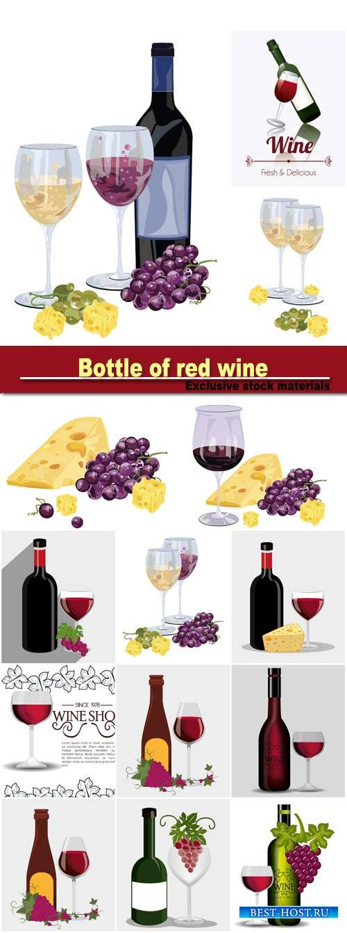 Bottle of red wine with grapes and cheese