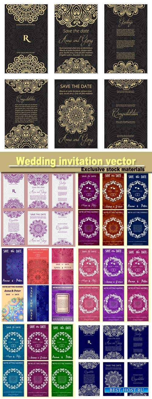 Wedding invitation vector template