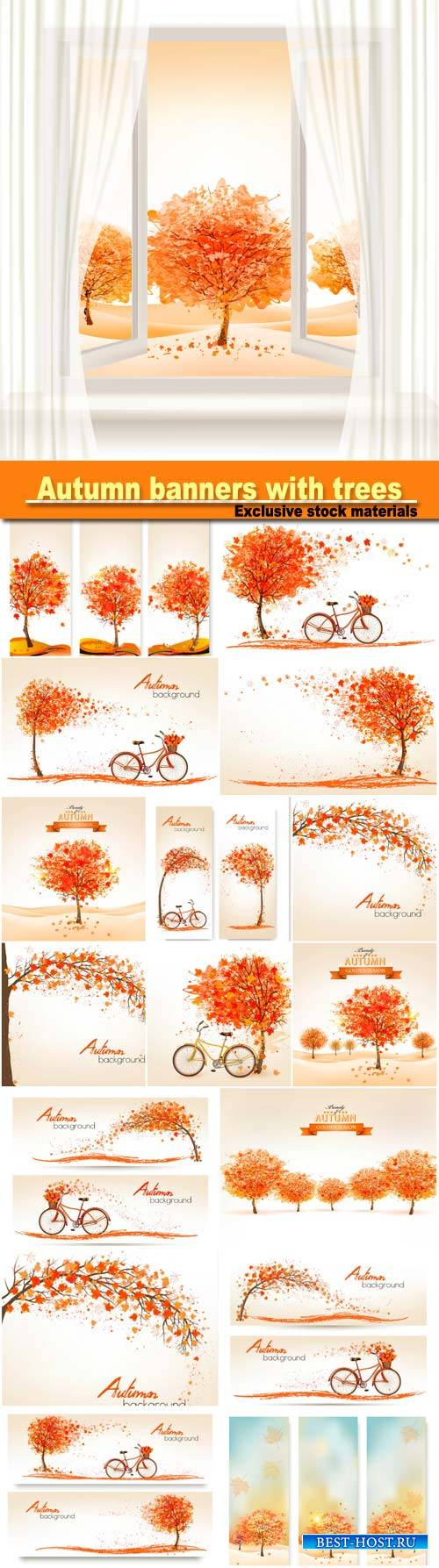 Autumn banners with trees and a bicycle