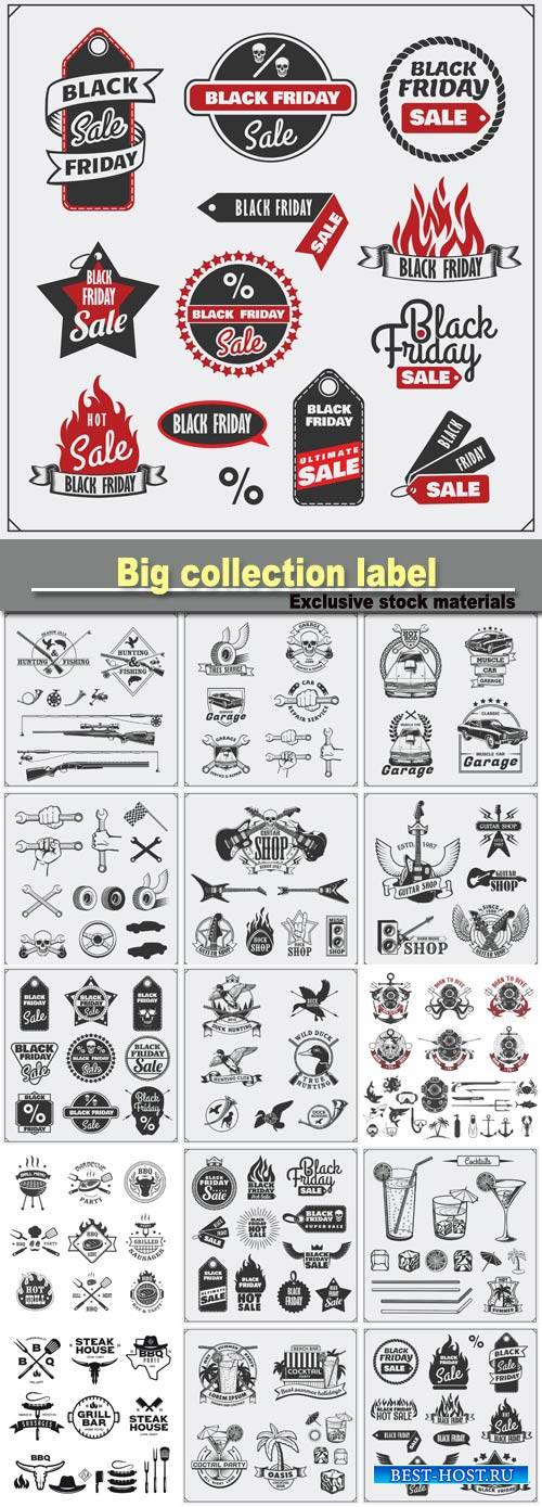 Big collection label templates and design elements