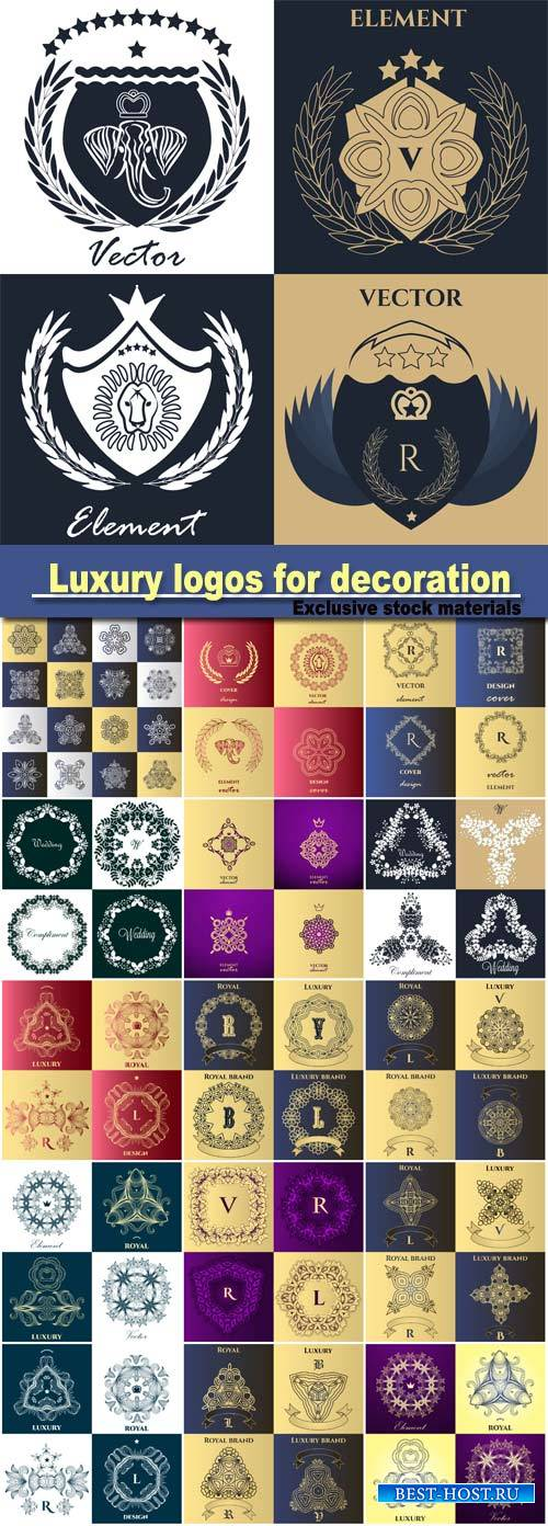 Luxury logos for decoration, victorian style, for boutiques, restaurants, h ...