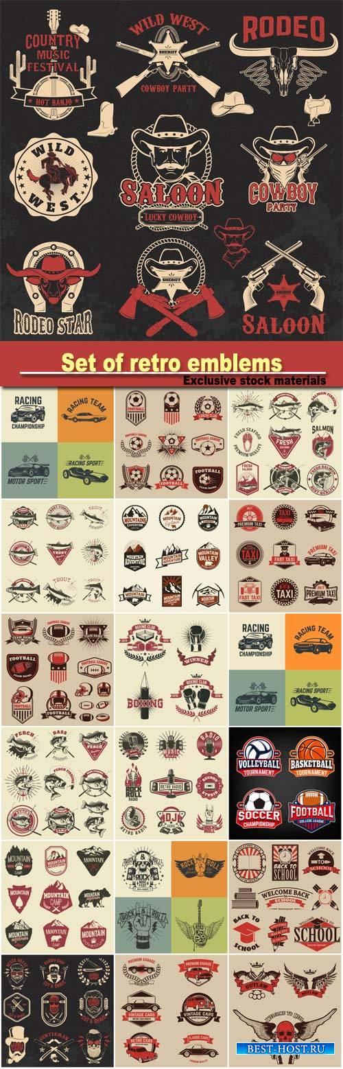 Set of retro emblems, vintage vector labels