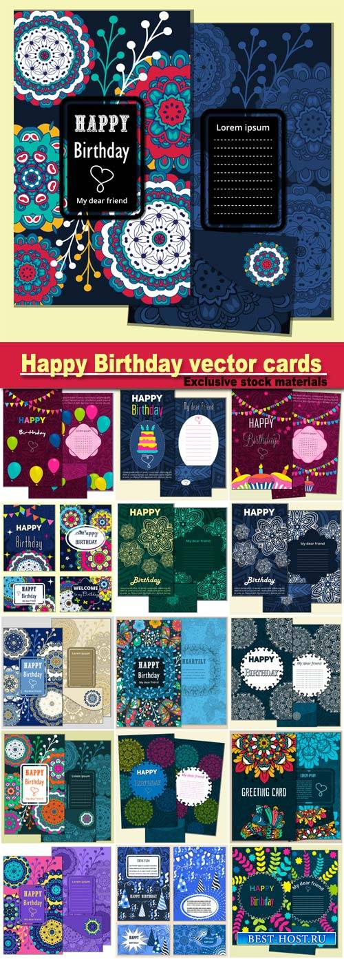 Set Happy Birthday vector cards and envelope. on decorated background