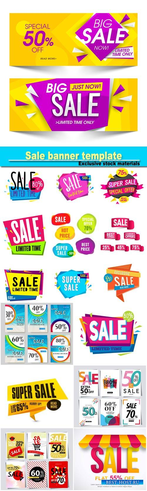 Sale banner template, sale sticker or label