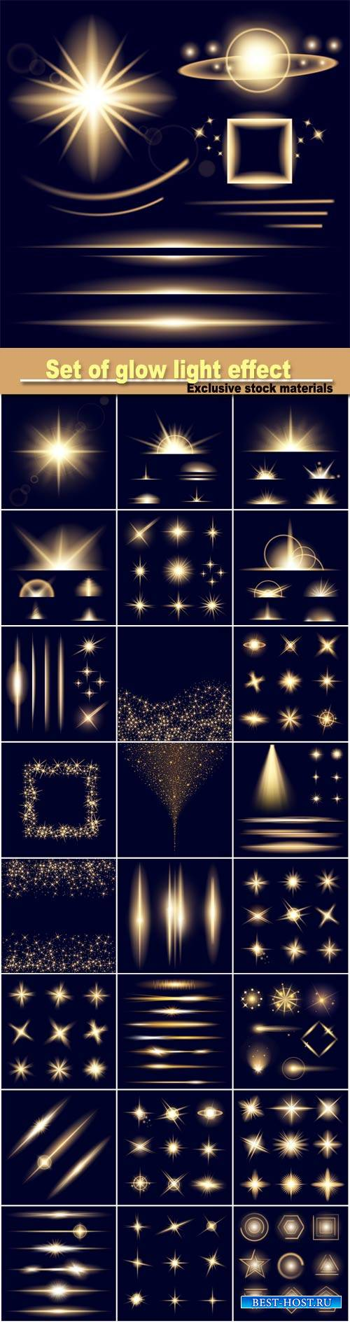 Vector set of glow light effect stars bursts with sparkles isolated on blac ...